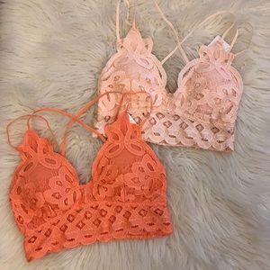 🆕 Kyla Hyper Peach Strappy Lace Longline Bralette